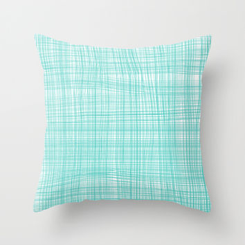 Gauze turquoise Throw Pillow by Marta Duarte