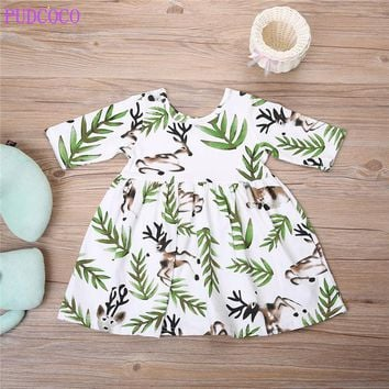 pudcoco short Sleeve Girls Dress2017 Cotton Pattern Baby Dress Rabbit Tree Dress Princess Kids Toddler Christmas Girls Clothes