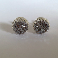 "Titanium Sterling Silver Druzy Cabochon 'Crowned With Glory"" Earrings"