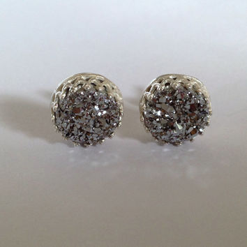 """Titanium Sterling Silver Druzy Cabochon 'Crowned With Glory"""" Earrings"""