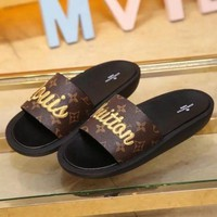 LV Louis Vuitton Women's Fashion Embroidered Slipper Sandals F Brown/Black