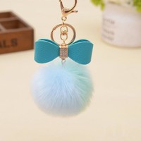 Fluffy Fur Ball With Turquoise Bling Bow Key Chain