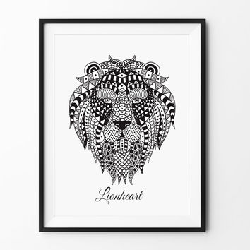 Lionheart - LION - ETHNIC - Demi Lovato lyric - Inspirational - Wall Art - Instant - Printable quote - Nursery décor