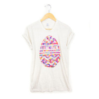 Tribal Egg - STENCILED Deep Scoop Neck Pinned Rolled Cuffs Women's Tee in Heather Oatmeal and Multi Rainbow - S M L XL 2XL 3XL