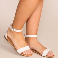 Viola White Ankle Strap Sandals