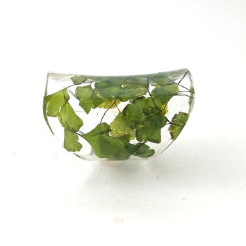 Extra Wide Resin Ring with Green Maidenhair Fern. Green Band Ring, Statement Ring, Cocktail Ring, Knuckle Ring. Eco Resin.  Bio Resin