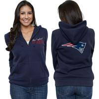 New England Patriots Women's Game Day Navy Full Zip Hooded Sweatshirt