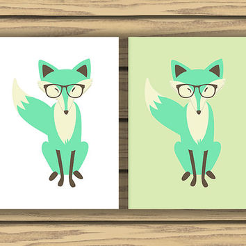 Mint Fox Art, Two Prints, 5x7 inches each,Mint Green, Printable Fox Art, Fox Nursery Art, Mint Nursery Art, Foxes with Glasses, Mint