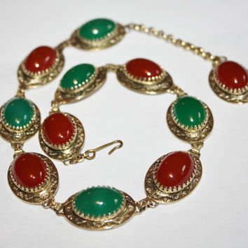 Vintage Necklace Green Brown Glass Stone 1950s Jewelry Designer Whiting Davis