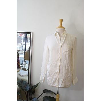 Theory White Silk Button Up