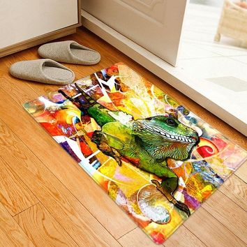Cartoon Lizard Pattern Water Absorption Area Rug
