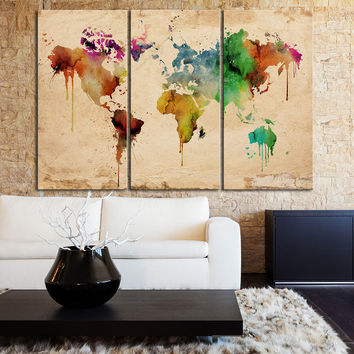 Large Colorful Watercolor Urban World Map Canvas Print - Contemporary 3 Panel Triptych Colorful Abstract Rainbow Colors Large Wall Art