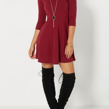 Burgundy Chevron Embossed Skater Dress | Skater Dresses | rue21