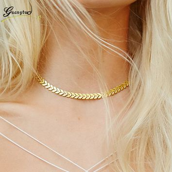Classic Europe & America Style Arrowhead Shape Choker Necklaces For Women Fashion Jewelry Tattoo Clavicle Collares Bijoux Colier