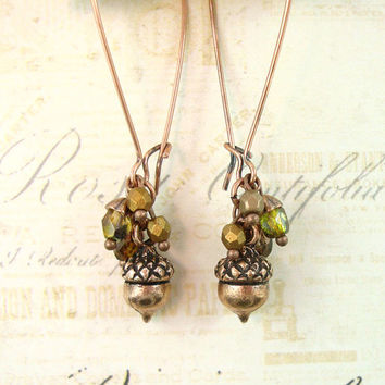 Acorn Earrings - Autumn Cluster Dangle Earrings - Vintage Style Antique Copper Long Earrings - Copper Autumn Jewelry - Unique Jewelry Gift