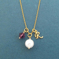Personalized, Initial, Birthstone, Round, White, Pearl, Gold, Silver, Necklace, Birthday, Best friends, Lovers, Gift, Jewelry