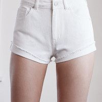 Kendall and Kylie Ecru High Rise Vintage Side Tack Denim Shorts at PacSun.com