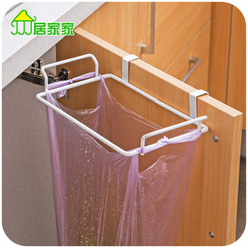 Iron paint cupboard door back garbage bags rack, kitchen cupboard doors debris rack rag hanging