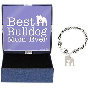 Best Dog Mom Ever Dog Paw Silhouette Gift Charm Bracelet SilverTone Bracelet Jewelry Box