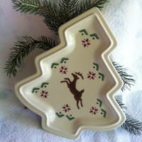 Christmas Tree Plate Pfaltzgraff Nordic Christmas Tree Dish With Brown Reindeer and Red Green Flowers Vintage 1990's Holiday Dining Ware