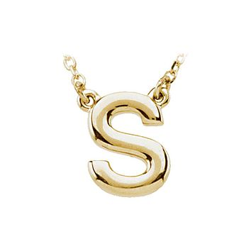 Block initial Necklace in 14k Yellow Gold, Letter S