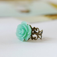 Mint Green Flower Ring Seafoam Green Floral Cocktail Ring. Victorian Style Brass Filigree Adjustable Rose Ring. Bridal Party Bridesmaid Gift