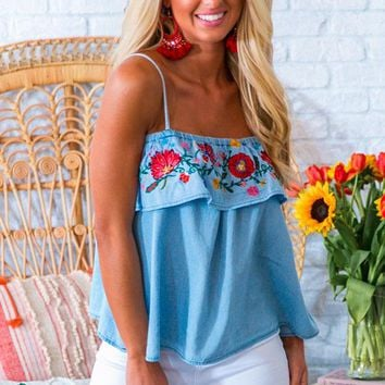 Mango Margs Embroidered Off Shoulder Top in Blue