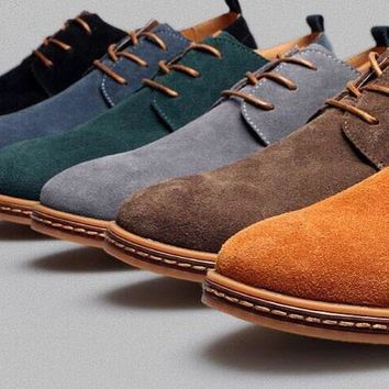 Mens Casual Dress Formal Oxfords Shoes Wing Tip Suede Leather