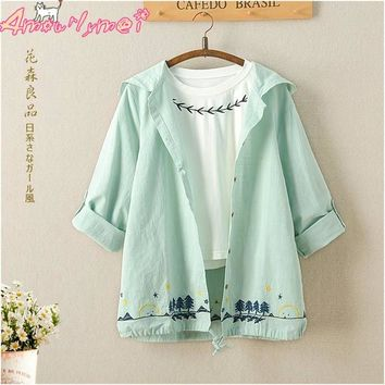 Spring Women Jacket Japanese Style Mori Girl Cotton Linen Tree Embroidery Long Sleeve Hooded Casual Thin Coat Female Outerwear