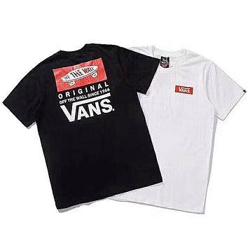 VANS 2018 new couples round neck cotton sports casual men and women short sleeves F-Great Me Store