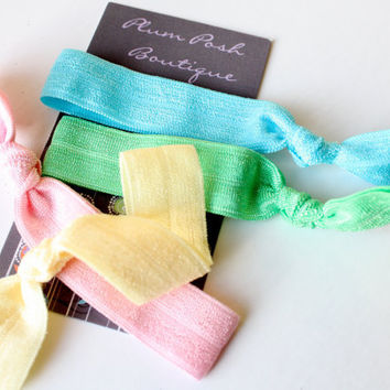 Yoga Knotted Elastic Hair Ties / Bracelets  Punchy by PlumPosh