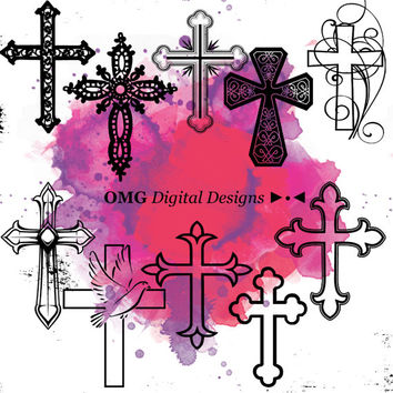 10 Cross Digital Clipart, Clipart Design Elements, Instant Download, Black Silhouette Clip art