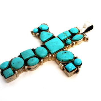 Turquoise Cross, Sterling Silver Pendant, Blue Gemstones, Very Large, Vintage Southwestern, Women's or Men's, Hallmarked 925, Bohemian Boho