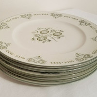 "Franciscan Plates Heritage 8"" Plates Five Lunch Plates Green Floral Pattern Vintage Dishes"