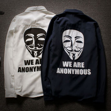 """WE ARE ANONYMOUS"" Long Sleeve Unisex Windbreaker Jacket [9445745159]"