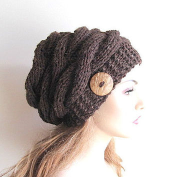 Instant Download PDF Knitting Pattern Cabled Slouchy Sideways Cable Beanies  Braided Hats Womens Girls