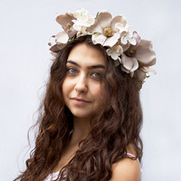 Magnolia Blossom Flower Crown. Taupe and Ivory, Floral Crown, Bridal Flower Headpiece, Large Flower Crown, Bridal, Crown, Hair Wreath, Fae