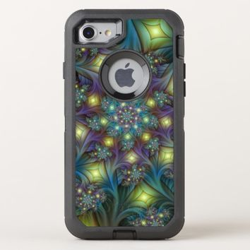 Illuminated modern blue purple Fractal Pattern OtterBox Defender iPhone 8/7 Case