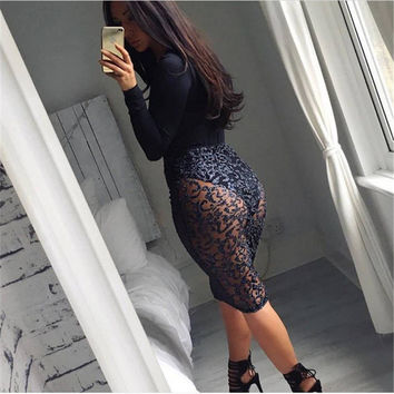 2016 Fashioin Sequin Mesh Woman Skirts Sexy Hollow Out Knee Length Solid Ladies Bust Skirt Vintage Autumn Winter Penicl Skirt