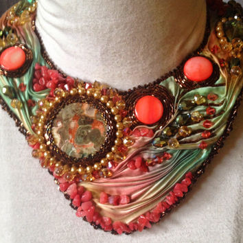 Silk Road Sunset, Gorgeous Shibori Ribbon Beaded Necklace, Textile Necklace, Statement Necklace
