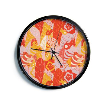 """Akwaflorell """"Fishes Here, Fishes There"""" Orange Red Modern Wall Clock"""