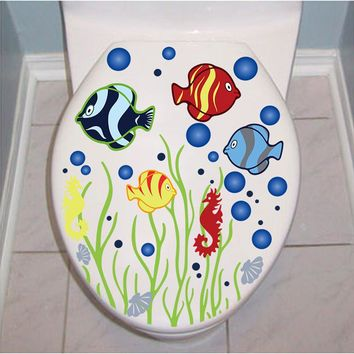 fish Bubble Underwater world toilet bathroom sticker waterproof Home Decoration refrigerator swimming pool Decals