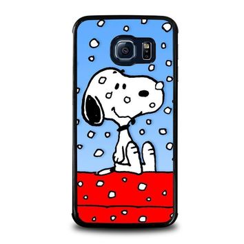 snoopy dog christmas samsung galaxy s6 edge case cover  number 1
