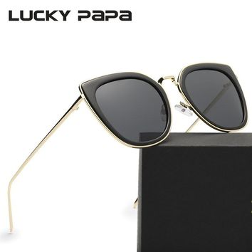 LUCKY PAPA Cat Eye Polarized Sunglasses Mirror Coating Lens Transparent Frame Sun Glasses Women Oculos de sol feminino Ray 0880