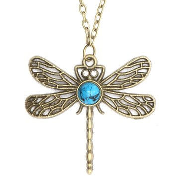 Dragonfly Necklace Turquoise Crystal Eyes Insect Bug NA12 Vintage Gold Tone Art Nouveau Pendant