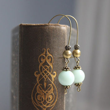 Jade // beaded dangle earrings bronze mint, light green - boho jewelry - handmade gift for her