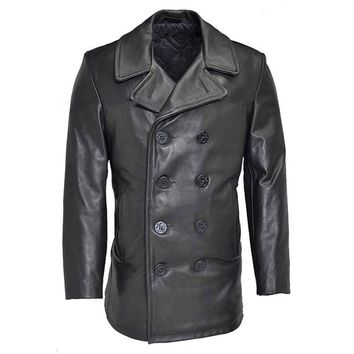 winter genuine cow leather jacket men's classic cowhide leather wind pea coat