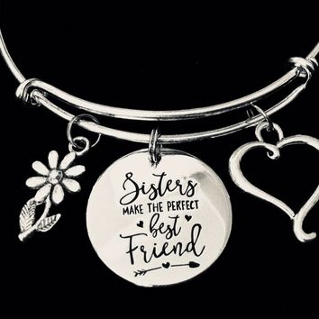 Sisters Make the Perfect Best Friends Adjustable Bracelet Silver Expandable Charm Bracelet Bangle Trendy Gift