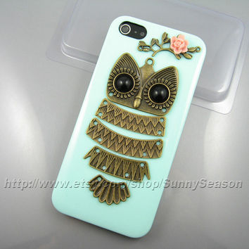 IPhone 5 case,Cute Owl Resin Flower On The Mint Green iphone 5 Hard Case,owl on the branch