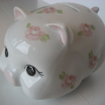 Bank Piggy, Girl Gift, Pink Roses, Porcelain Ceramics Pottery, Hand Painted and Kiln Fired by B. Marsh